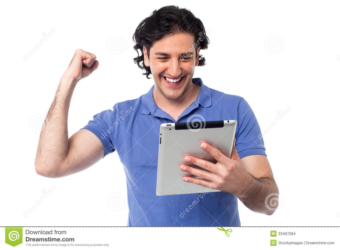 Excited Young Man Holding Touch Pad Device Stock Images ...