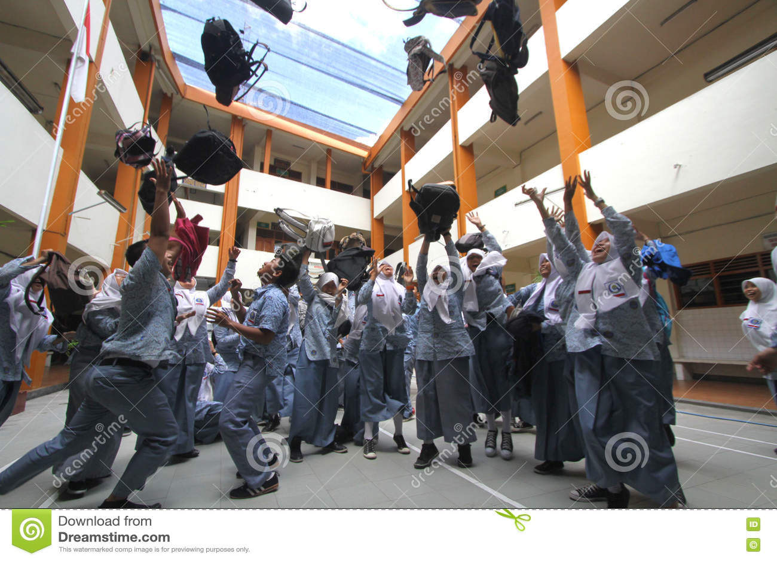 Excitement School Graduation Exam Editorial Photography - Image of