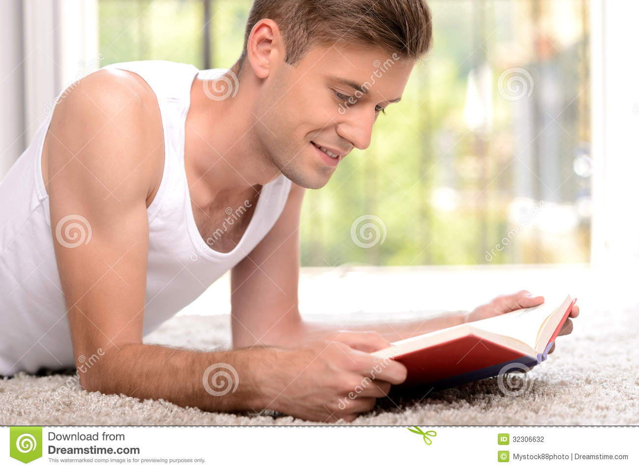 Exciting Book. Side View Of Handsome Young Men Reading A Book W ...