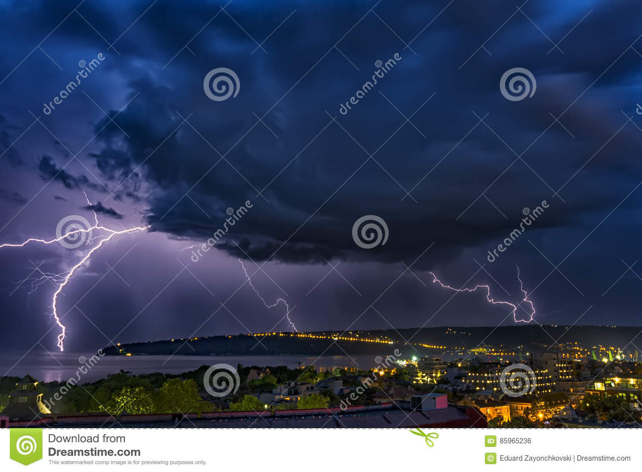 Exciting powerful lightning over the sea