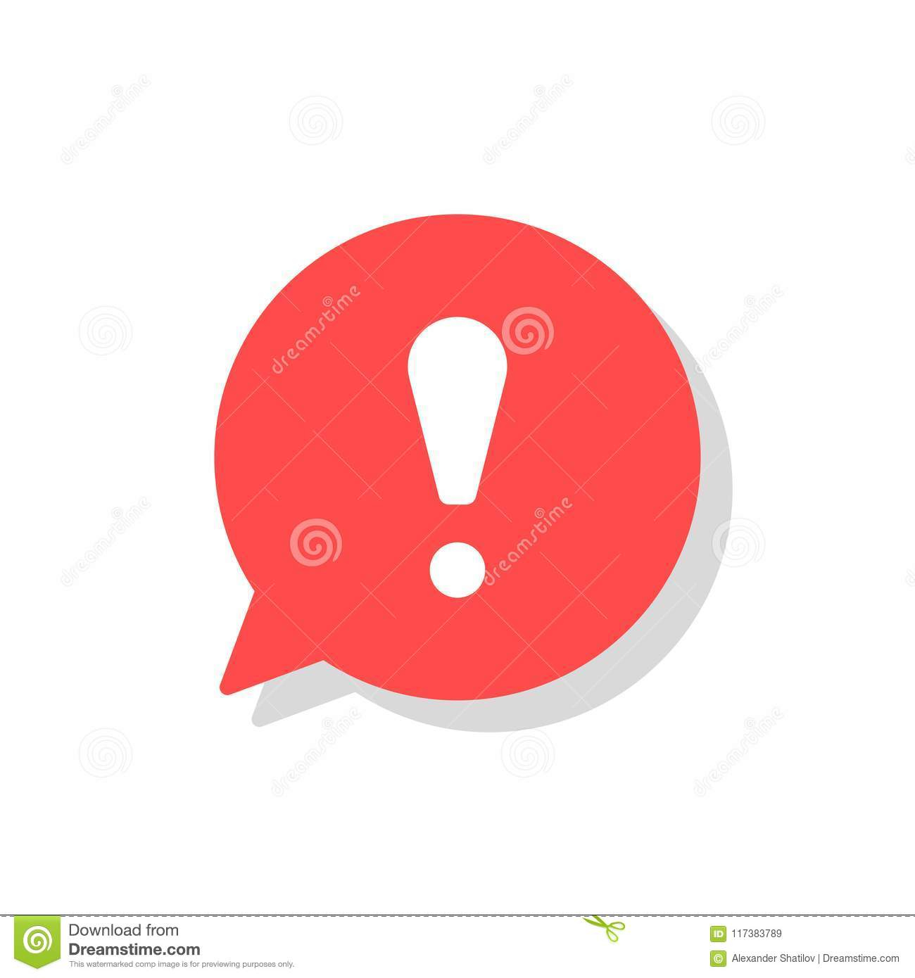 Exclamation mark in bubble speech vector icon. concept os attention or warning sign. Danger information or risk info