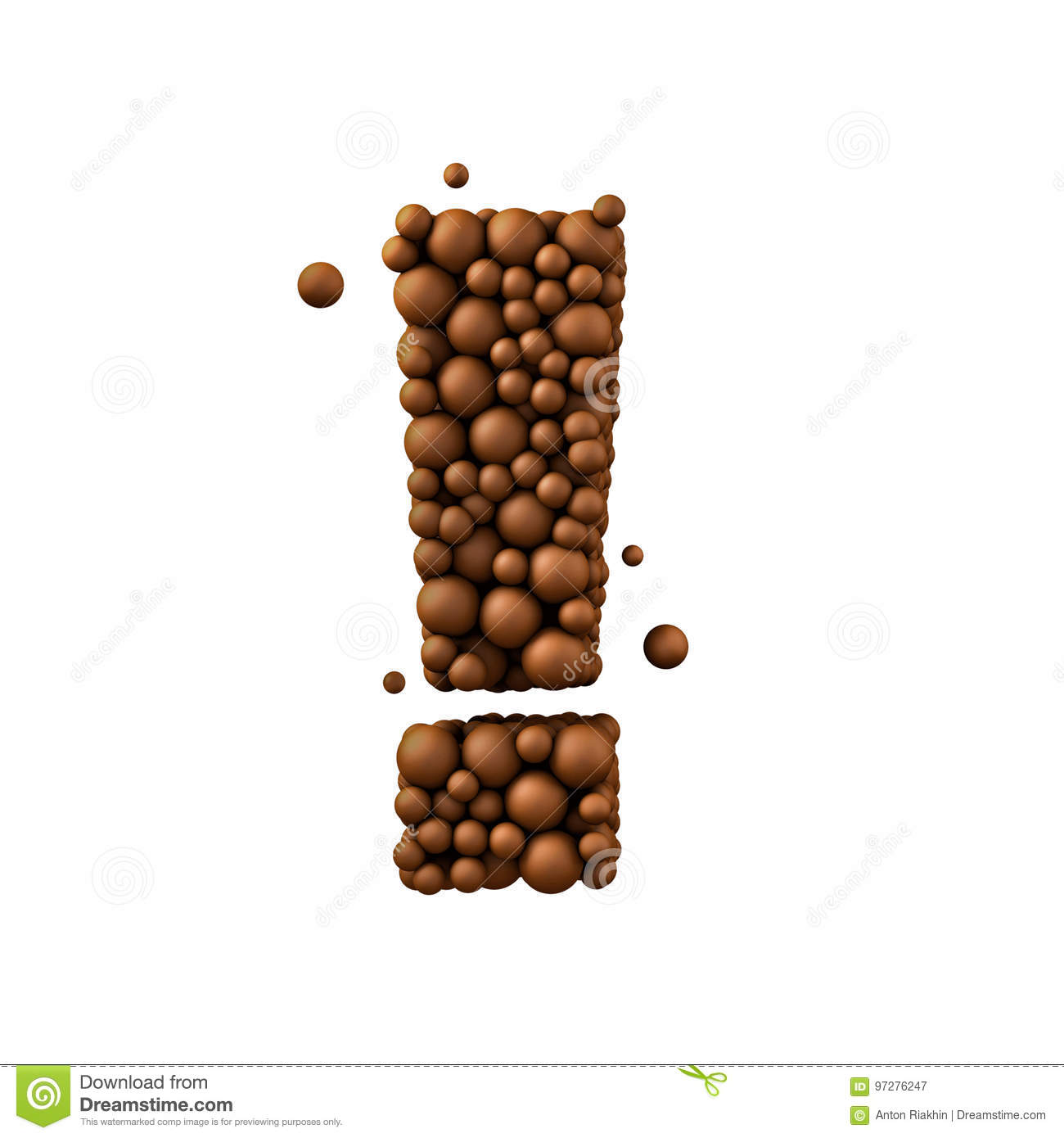 exclamation mark isolated on white made of chocolate bubbles milk chocolate concept 3d