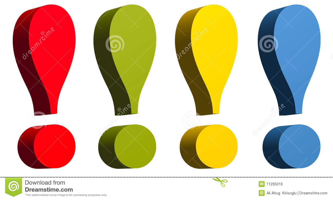 exclamation mark in red green yellow and blue colo stock