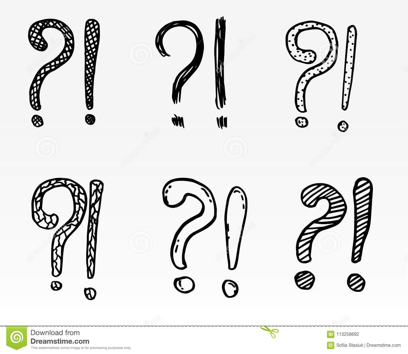 exclamation marks and question marks hand drawn set cartoon style