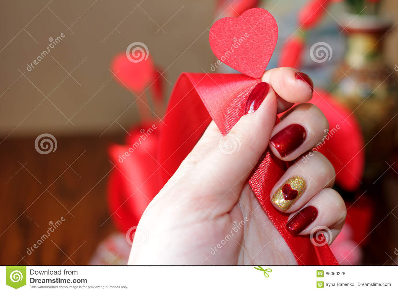 Exclusive manicure and composition for Valentine`s day.