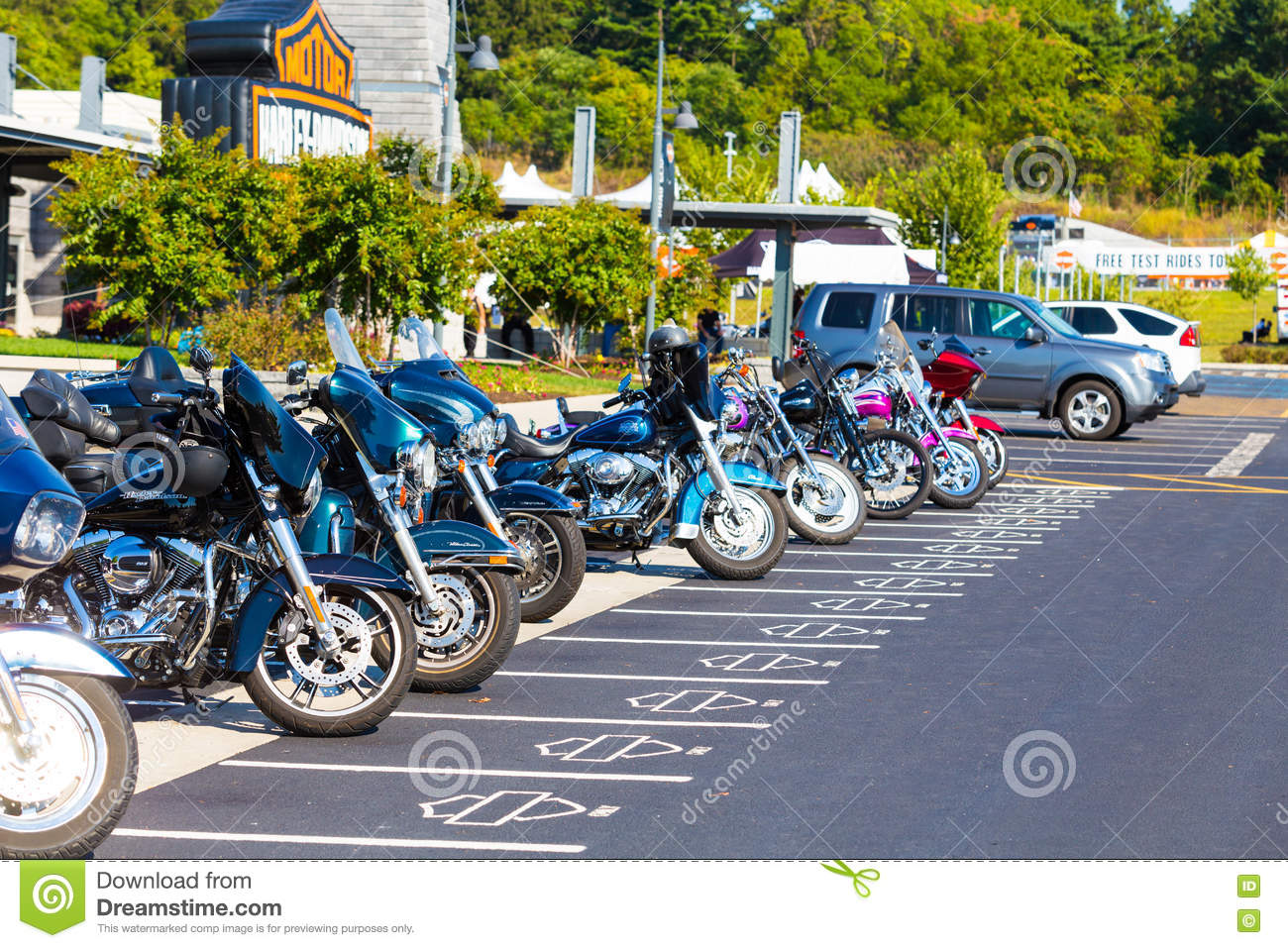 free motorcycle parking york  Exclusive Parking Spaces At Harley-Davidson Factory Editorial Photo ...