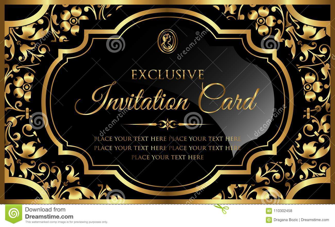invitation card design luxury black and gold vintage style stock