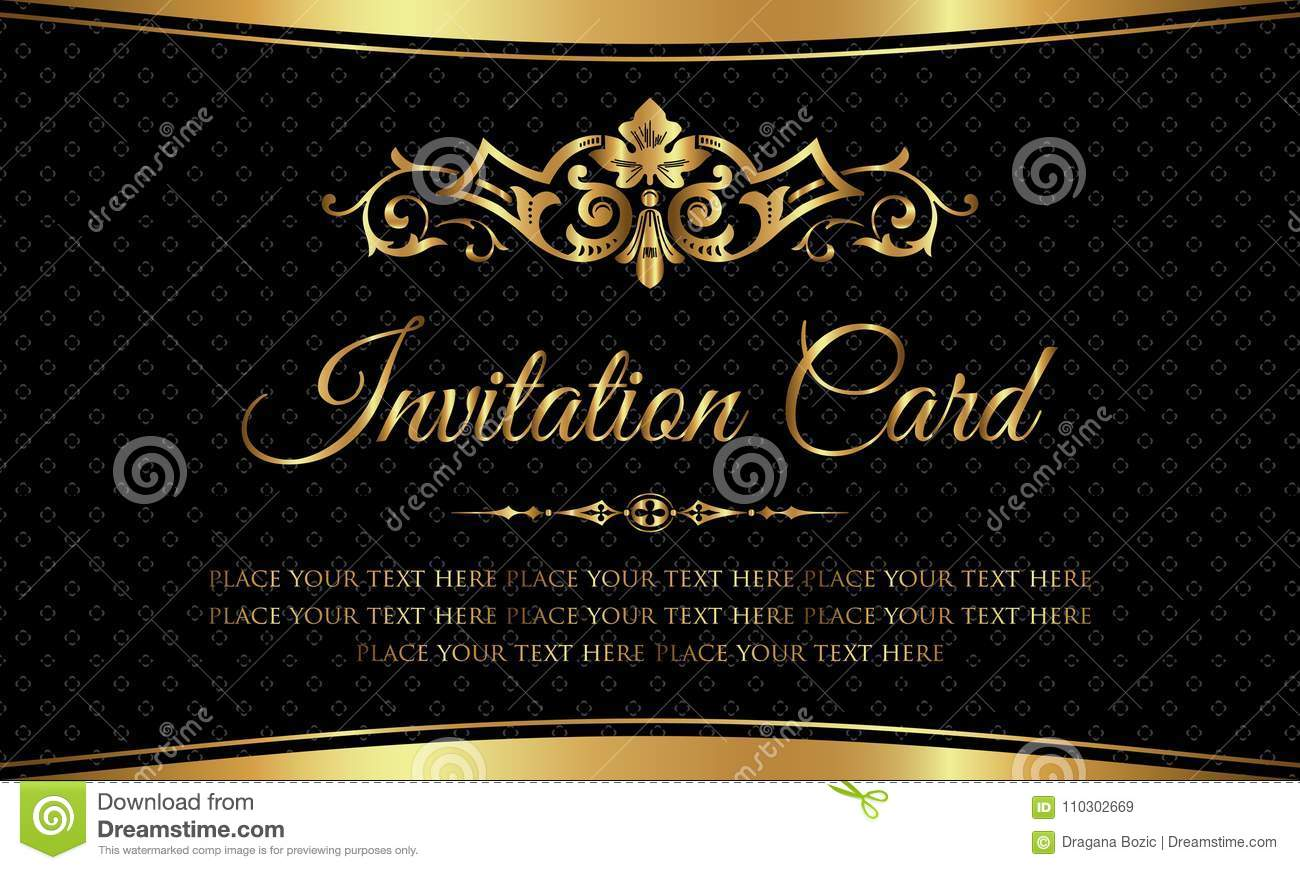Invitation Card Design - Luxury Black And Gold Vintage Style Stock Vector -  Illustration of congratulations, ceremony: 110302669