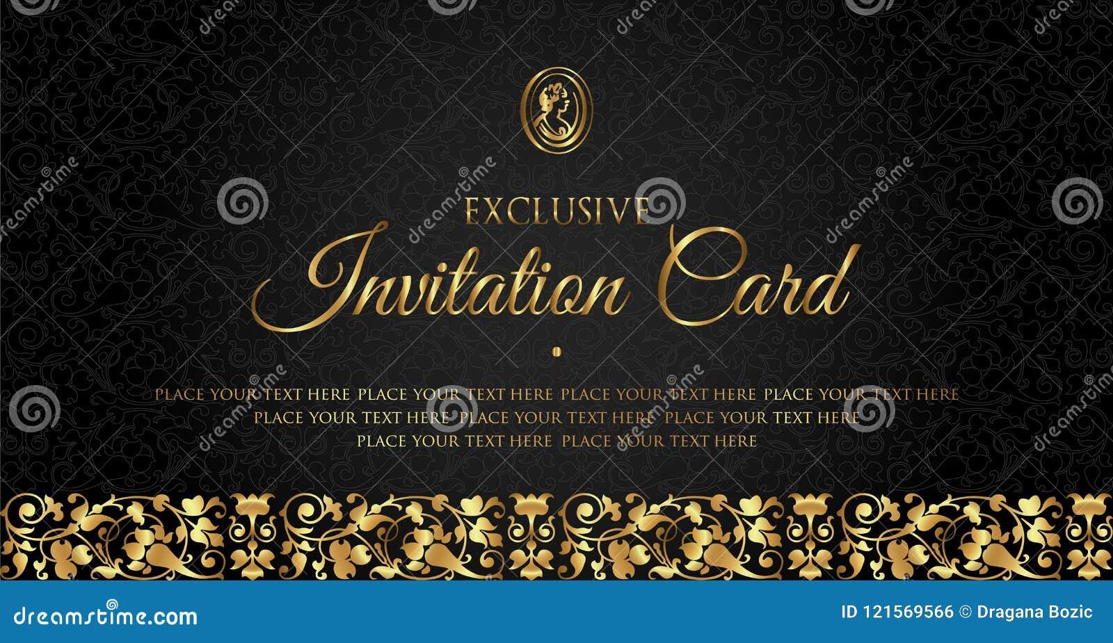 luxury black and gold invitation card design