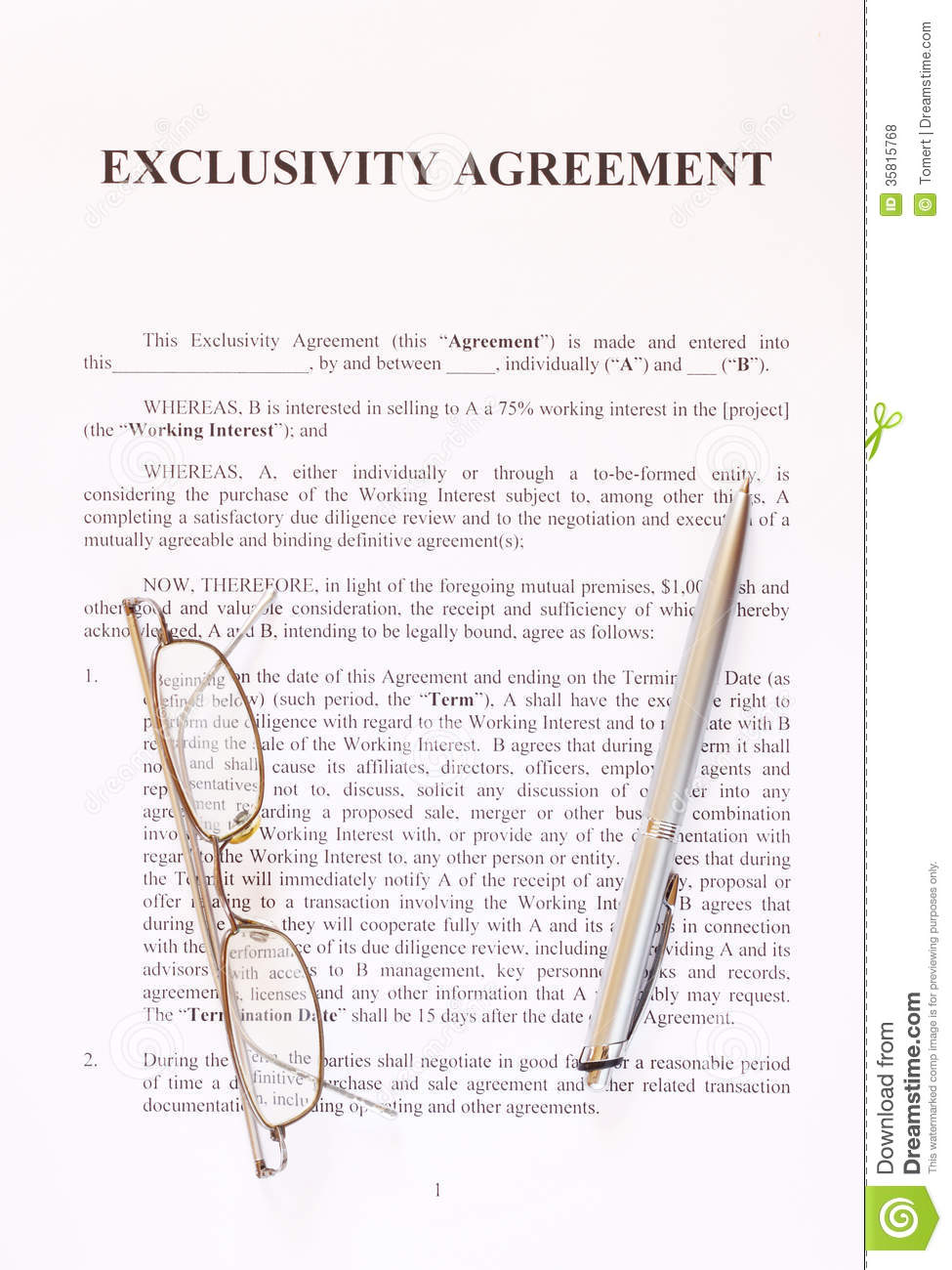 Exclusivity Agreement Form With Pen And Glasses Stock Photo Image