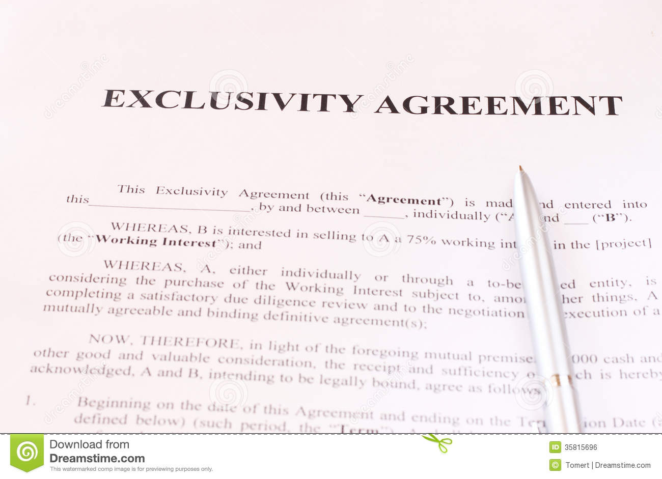 Exclusivity Agreement Form With Pen Stock Image