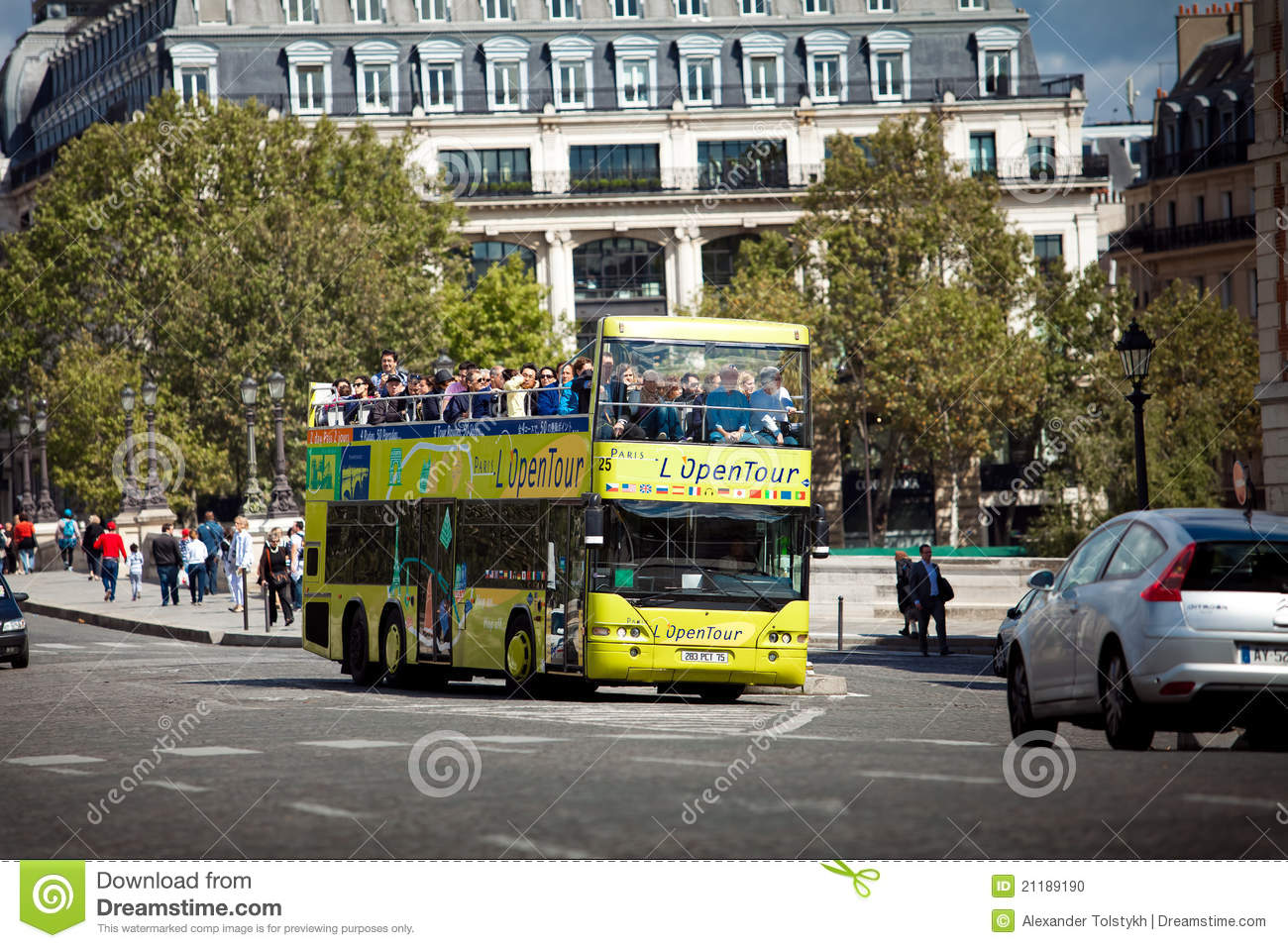 Excursion tourist bus in Paris, France