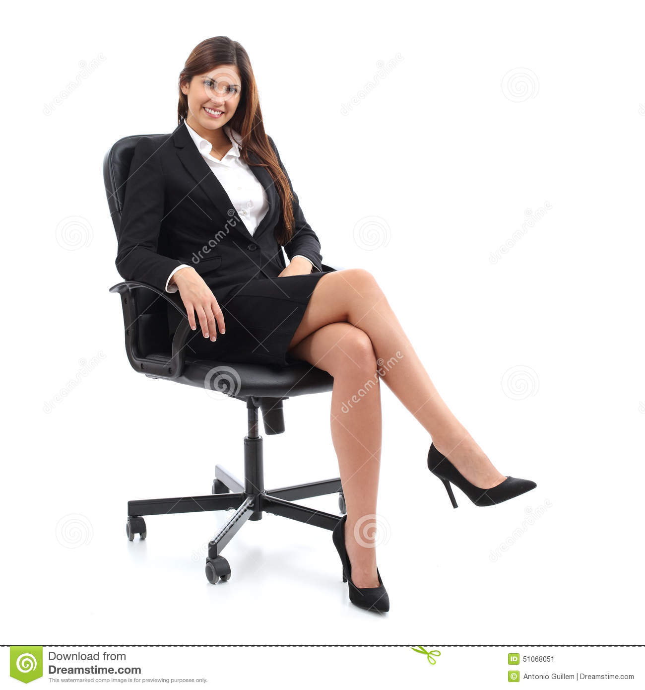 Executive Business Woman Sitting On A Chair Stock Image