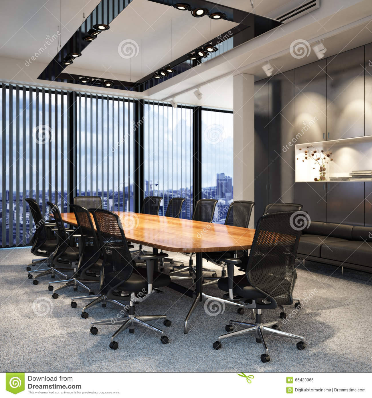 Executive Modern Empty Business Office Conference Room