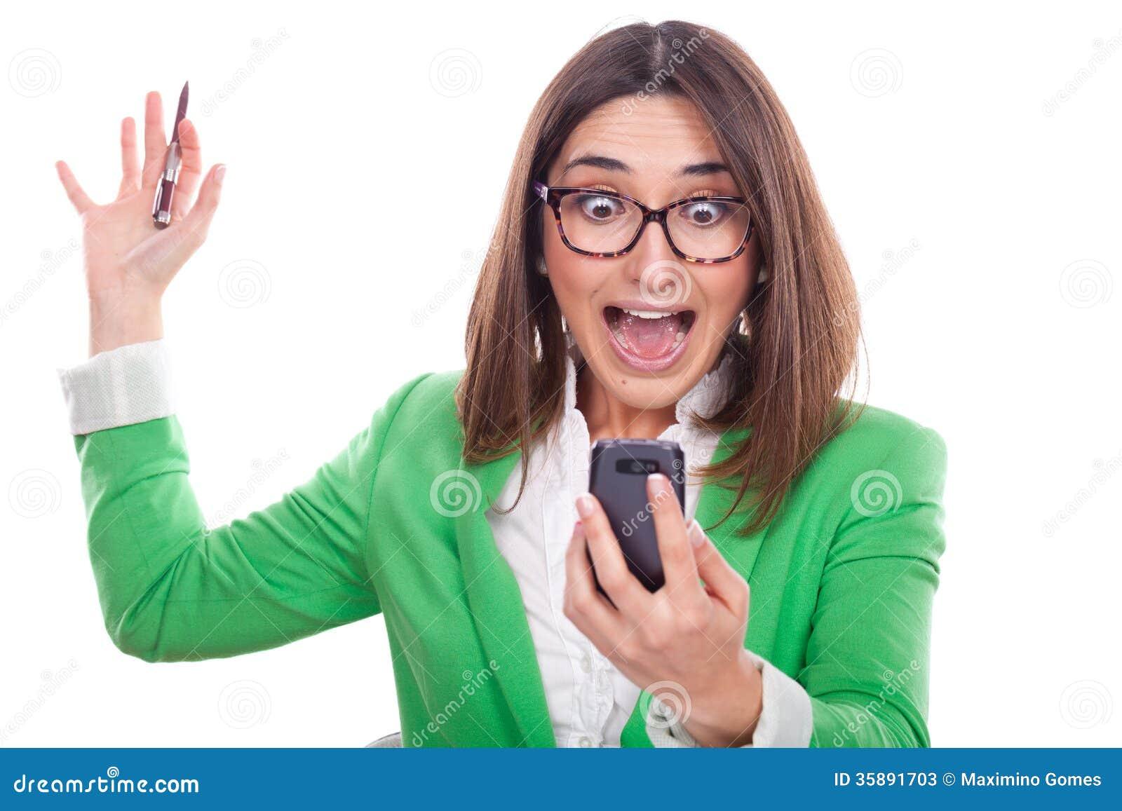Executive Woman Looking At The Phone Stock Photos Image