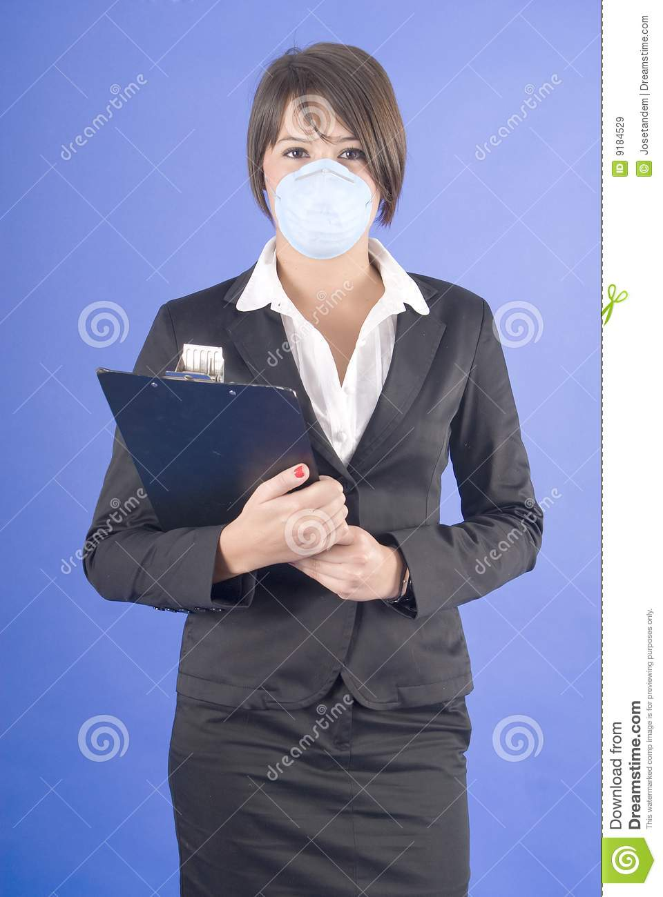 Executive woman with protective mask for swaine flu