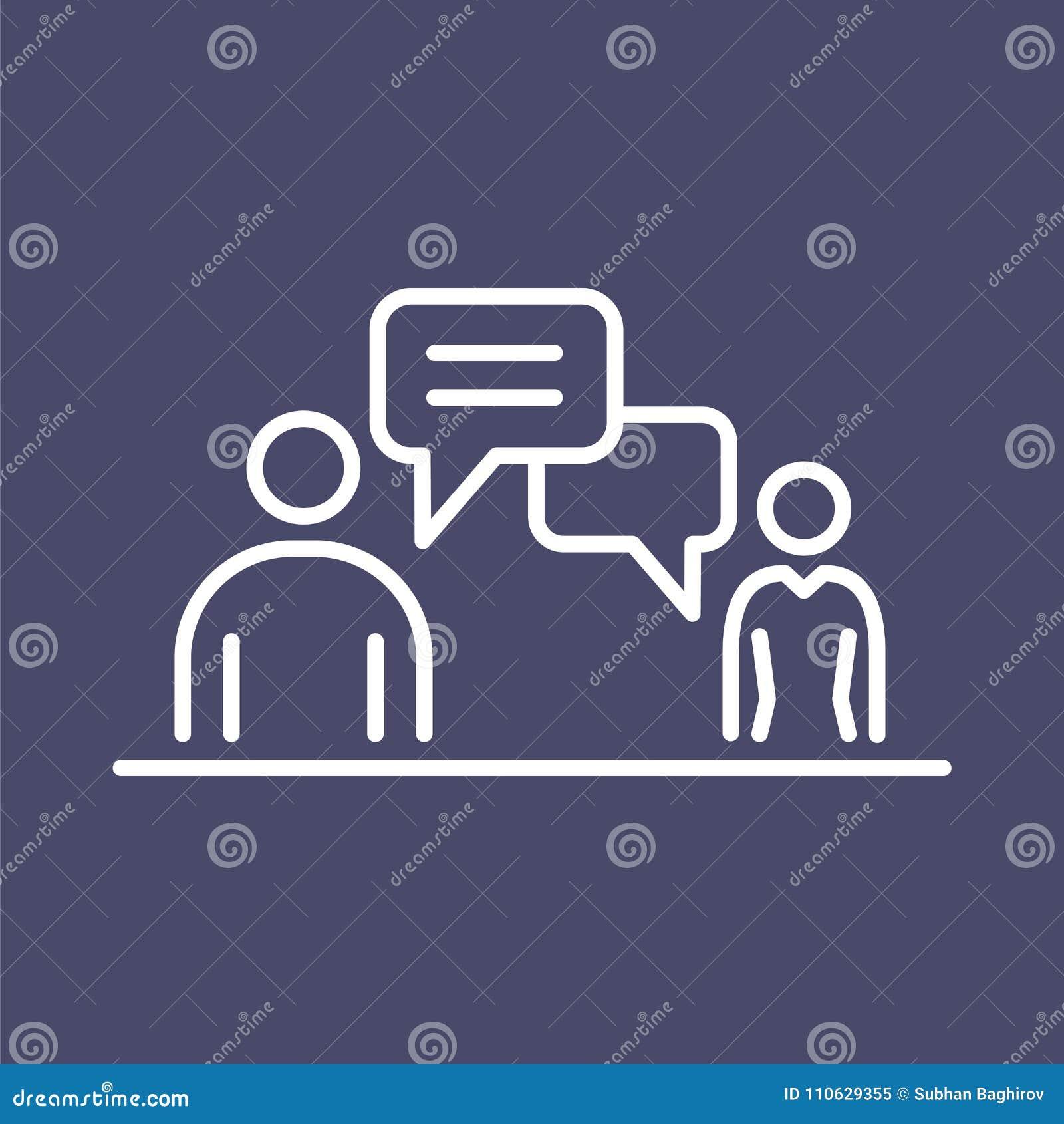 Executivos da linha simples ilustração lisa do ícone da conversação da reunião