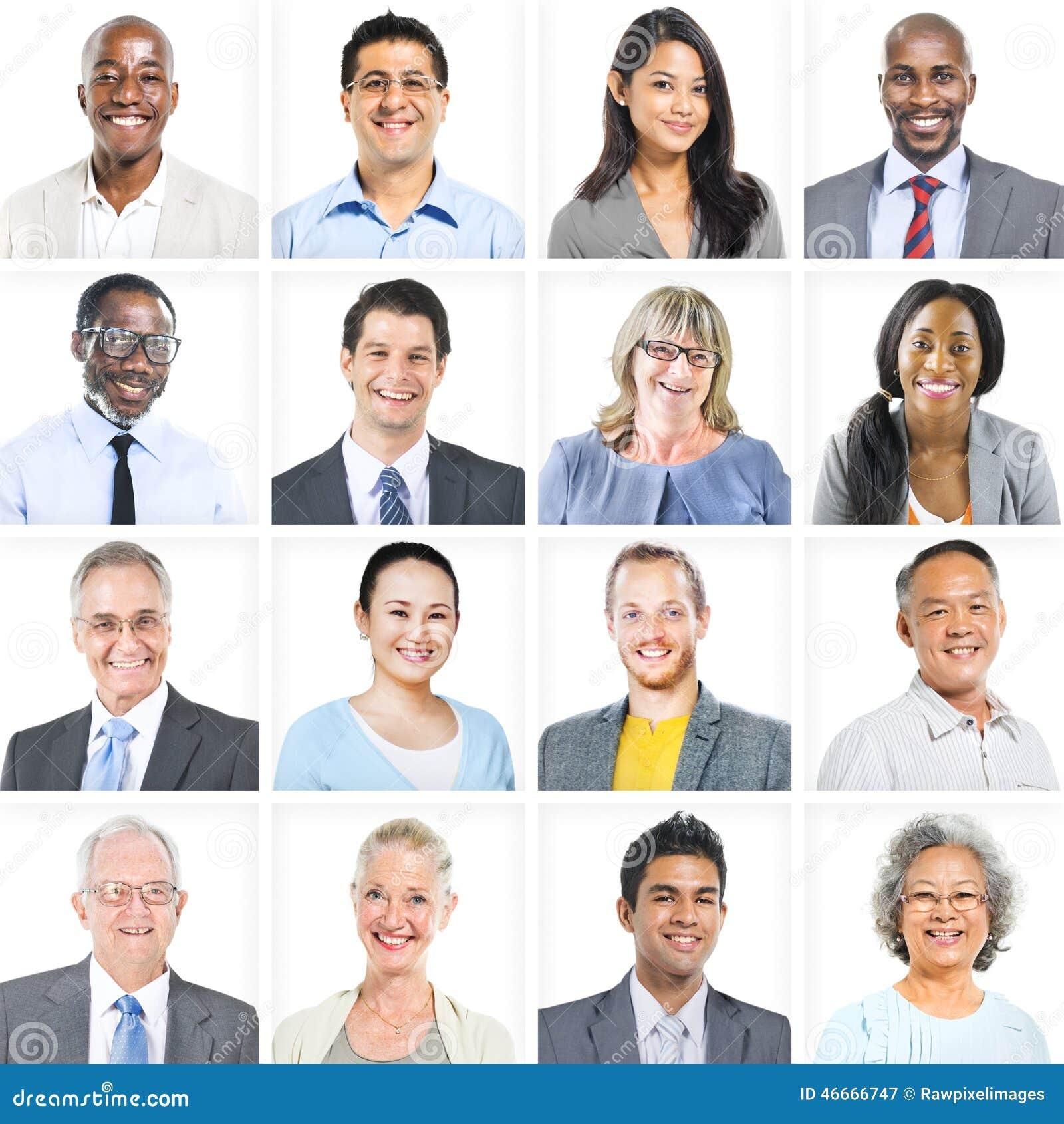 Executivos do grupo incorporado de conceito das caras