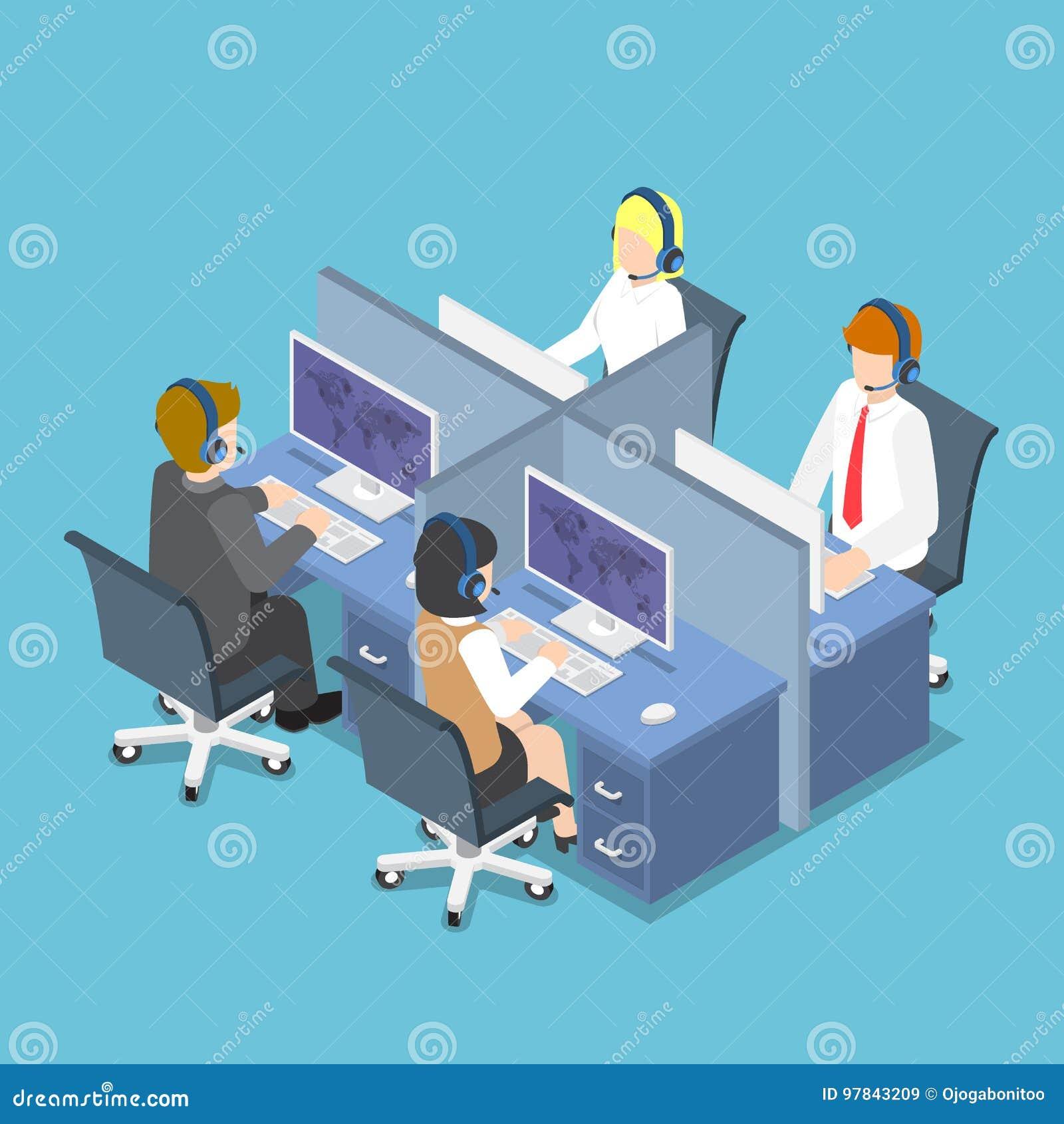 Executivos isométricos que trabalham com auriculares em um centro de atendimento