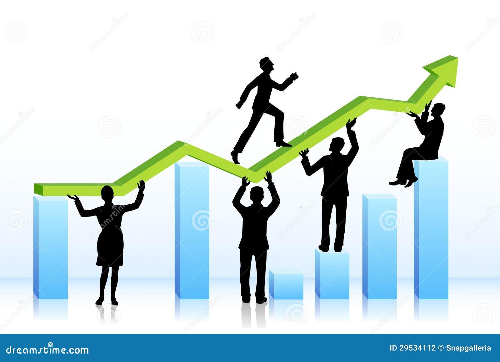 Executivos que andam no gráfico de barra