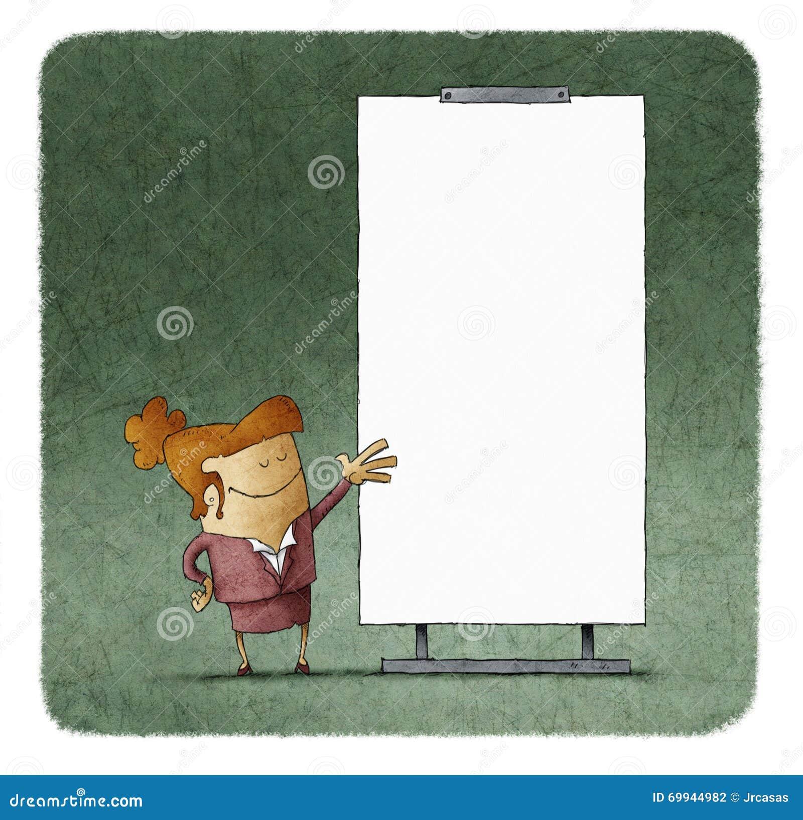 Executivos que dão uma apresentação na placa branca