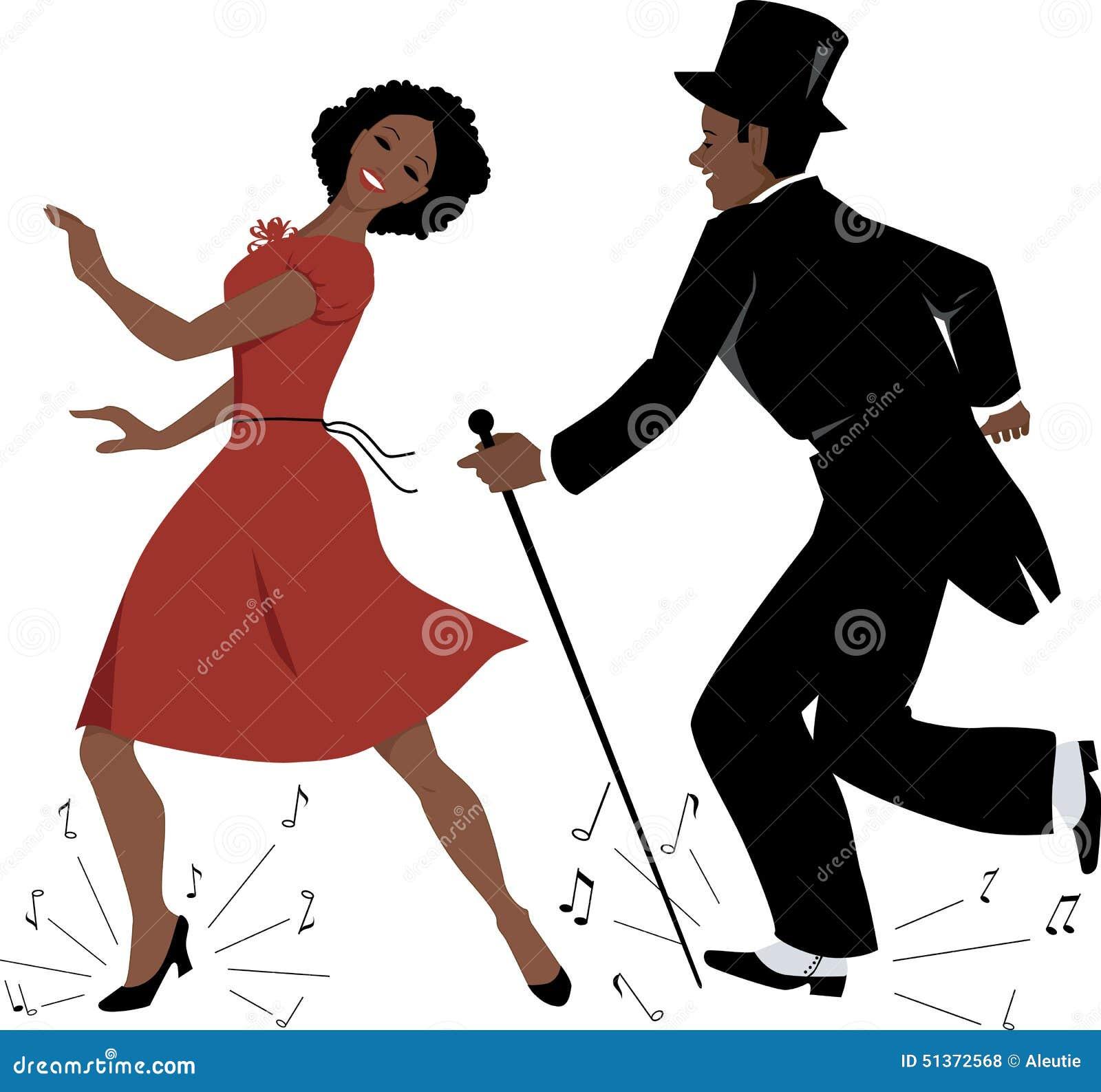 54faf61c9 Os pares afro-americanos vestiram-se na roupa retro do estilo que dança a  dança de torneira