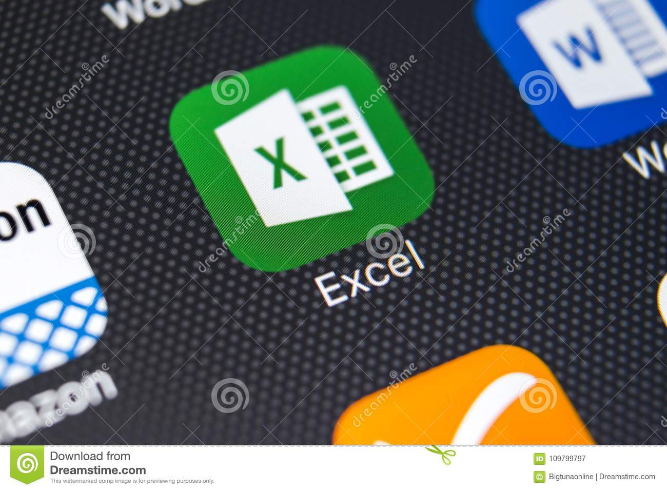 Exel application icon on Apple iPhone X screen close-up. Exel app icon. Microsoft office on mobile phone. Social media