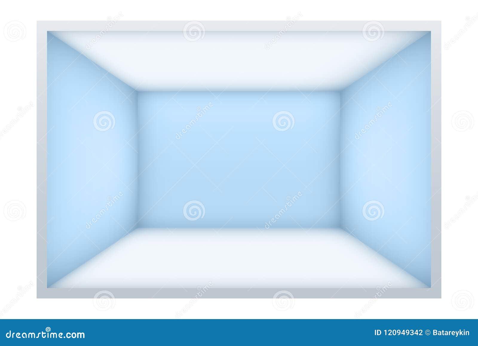 Exempel av tomt rum med blåa väggar
