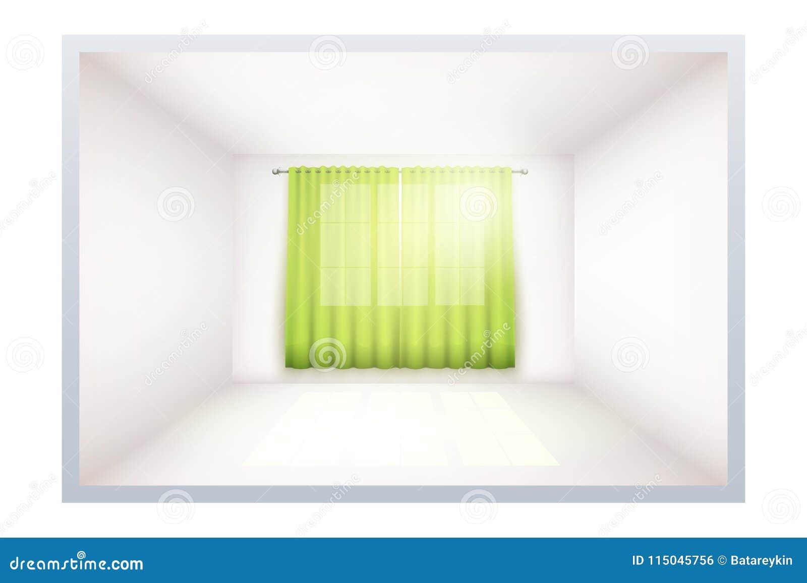 Exempel av tomt rum med fönstret