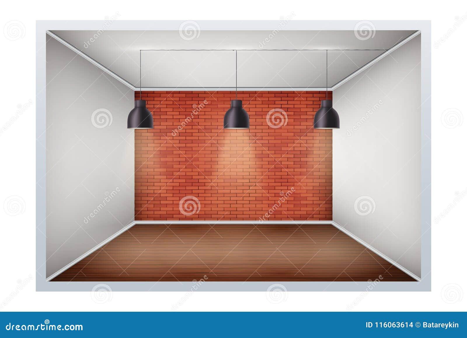 Exempel av tomt rum med tegelstenväggen
