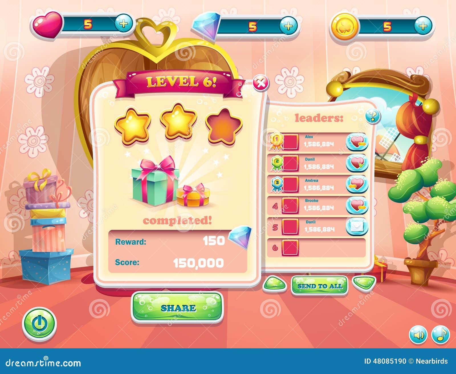 Exemple de l interface utilisateurs d un jeu d ordinateur Complet de fenêtre bc044791d16d