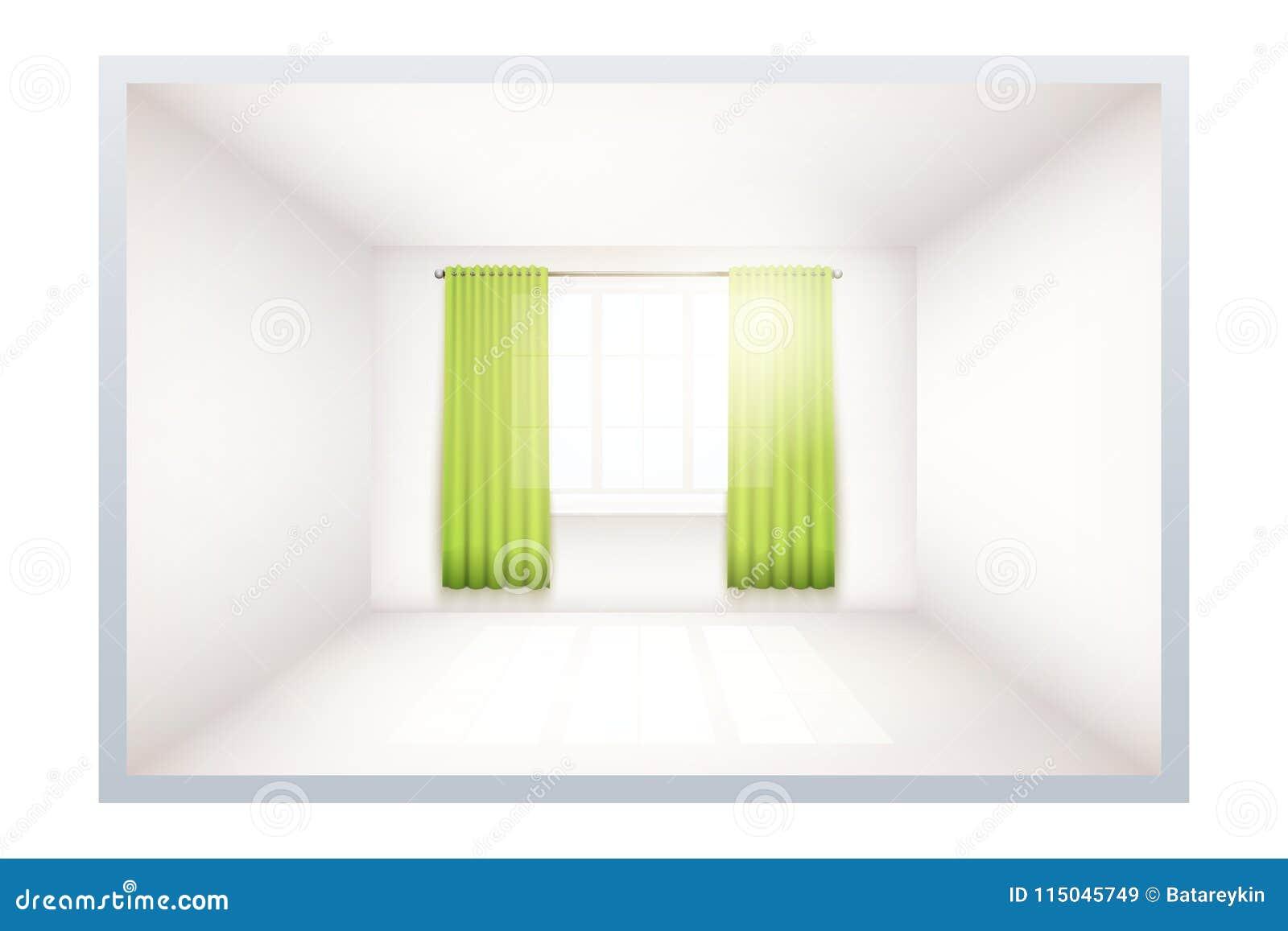 Exemplo da sala vazia com janela