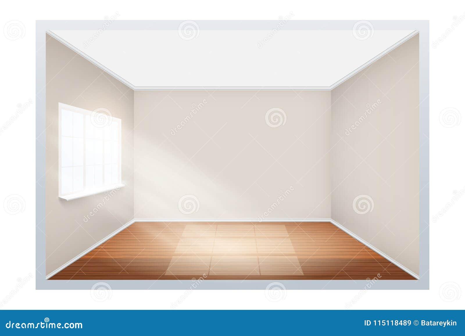 Exemplo da sala vazia com a janela no lado