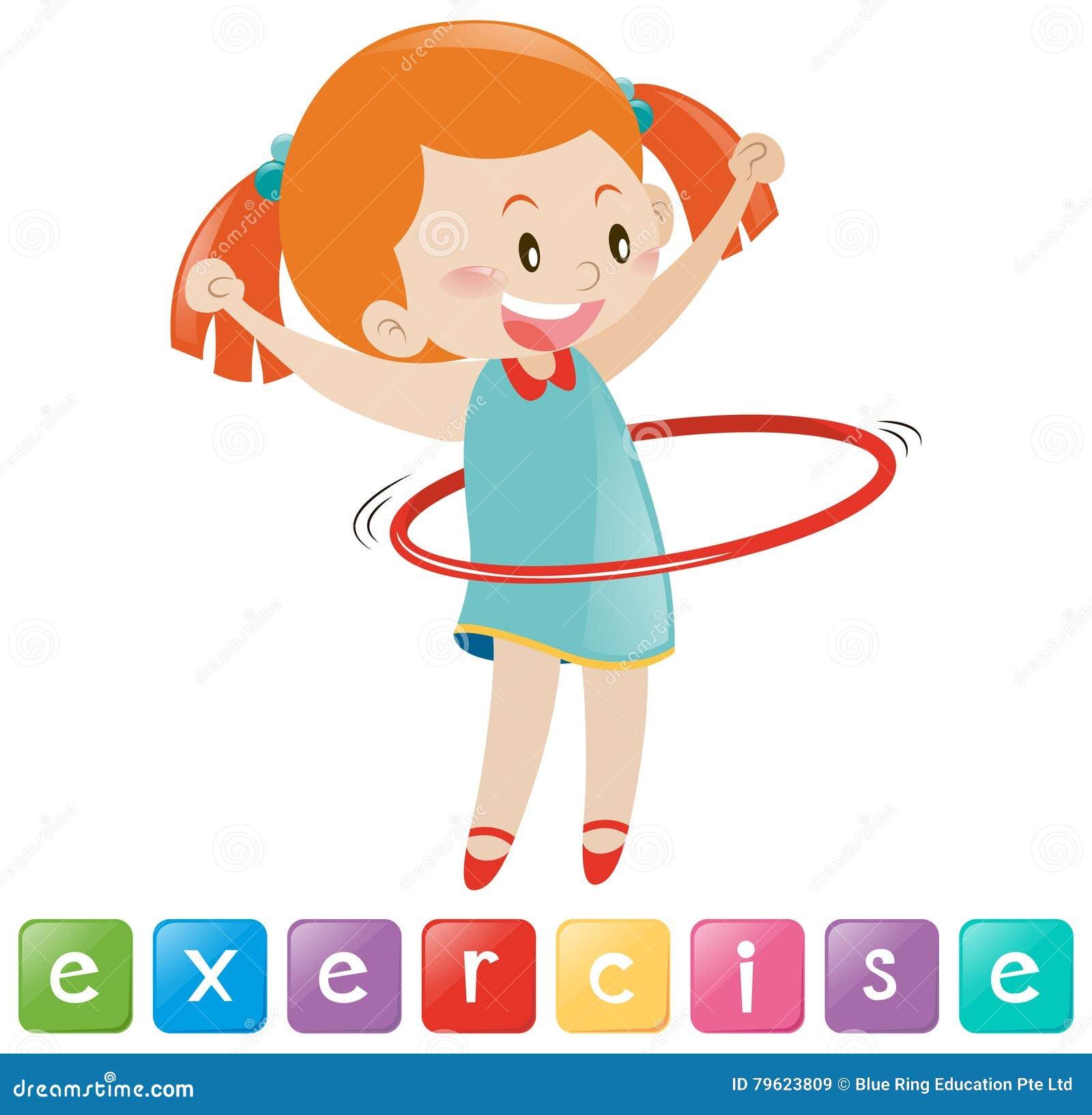 Exercício da menina com hulahoop