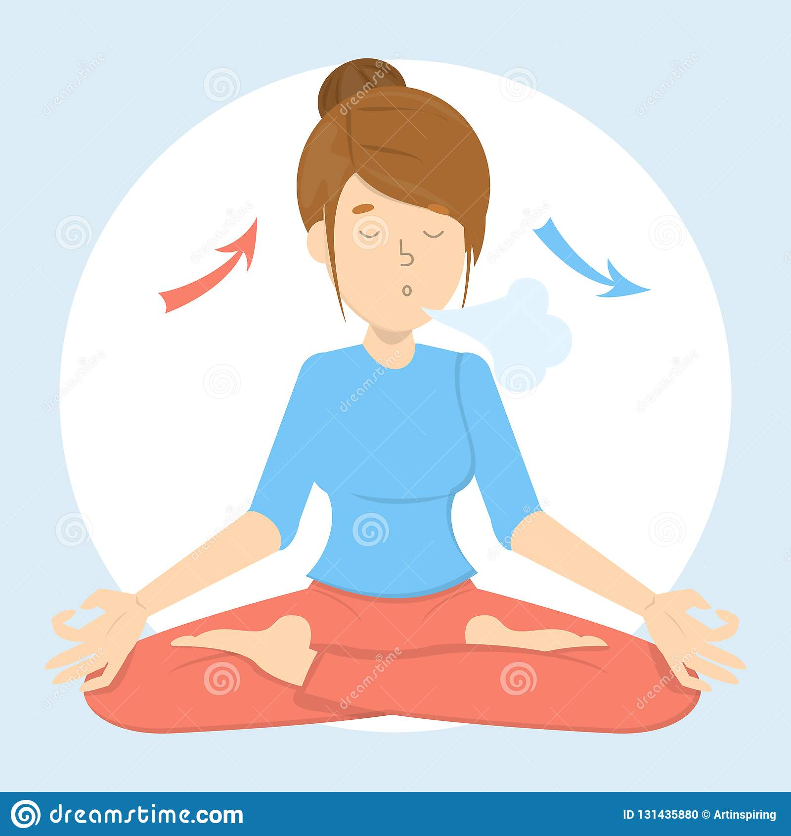 Exercício da respiração para o bom abrandamento Respire dentro e para fora