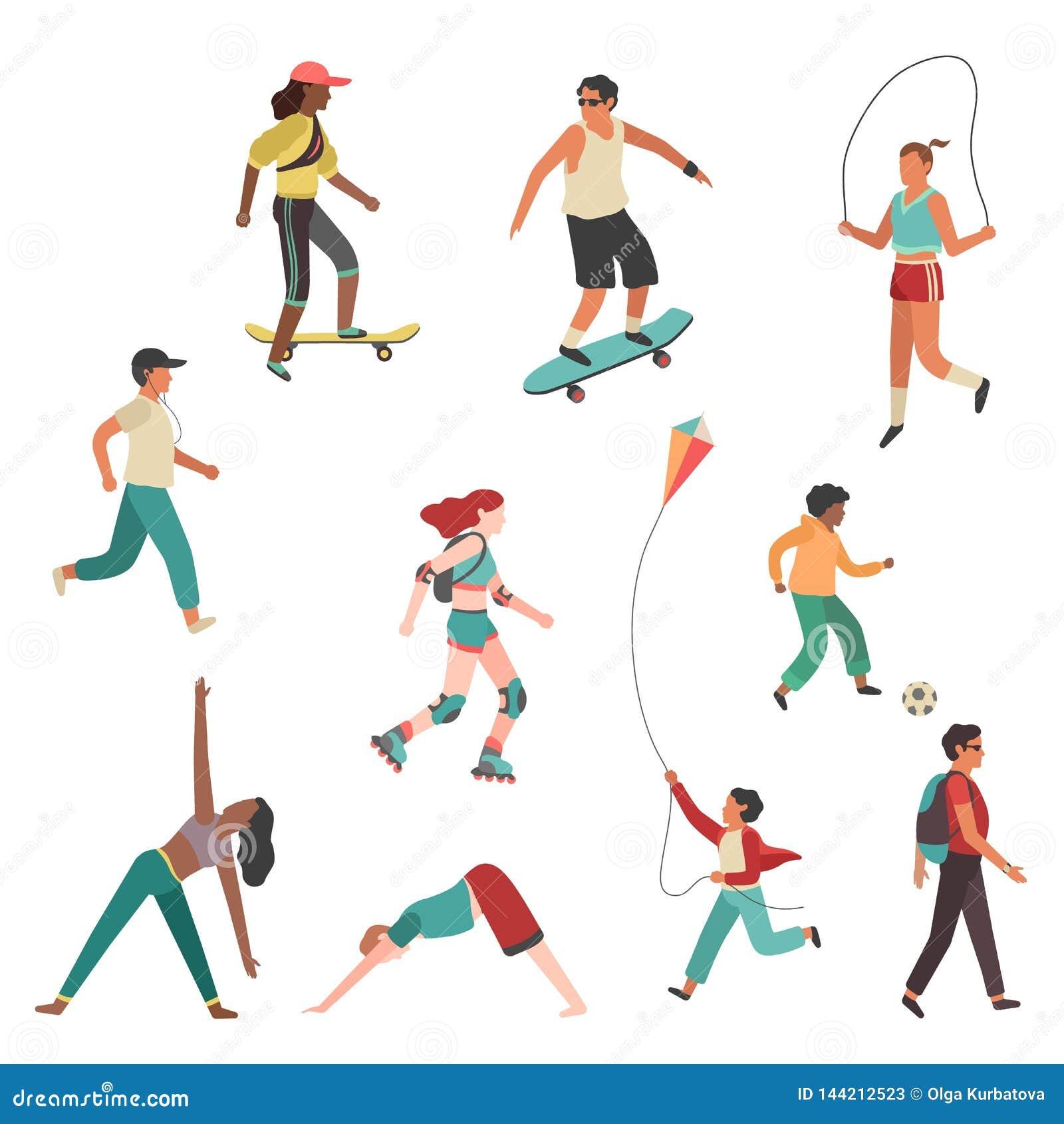 Exercício dos povos Menino, homem e jovem mulher da menina da cidade da pessoa correndo o grupo liso isolado do vetor da atividad