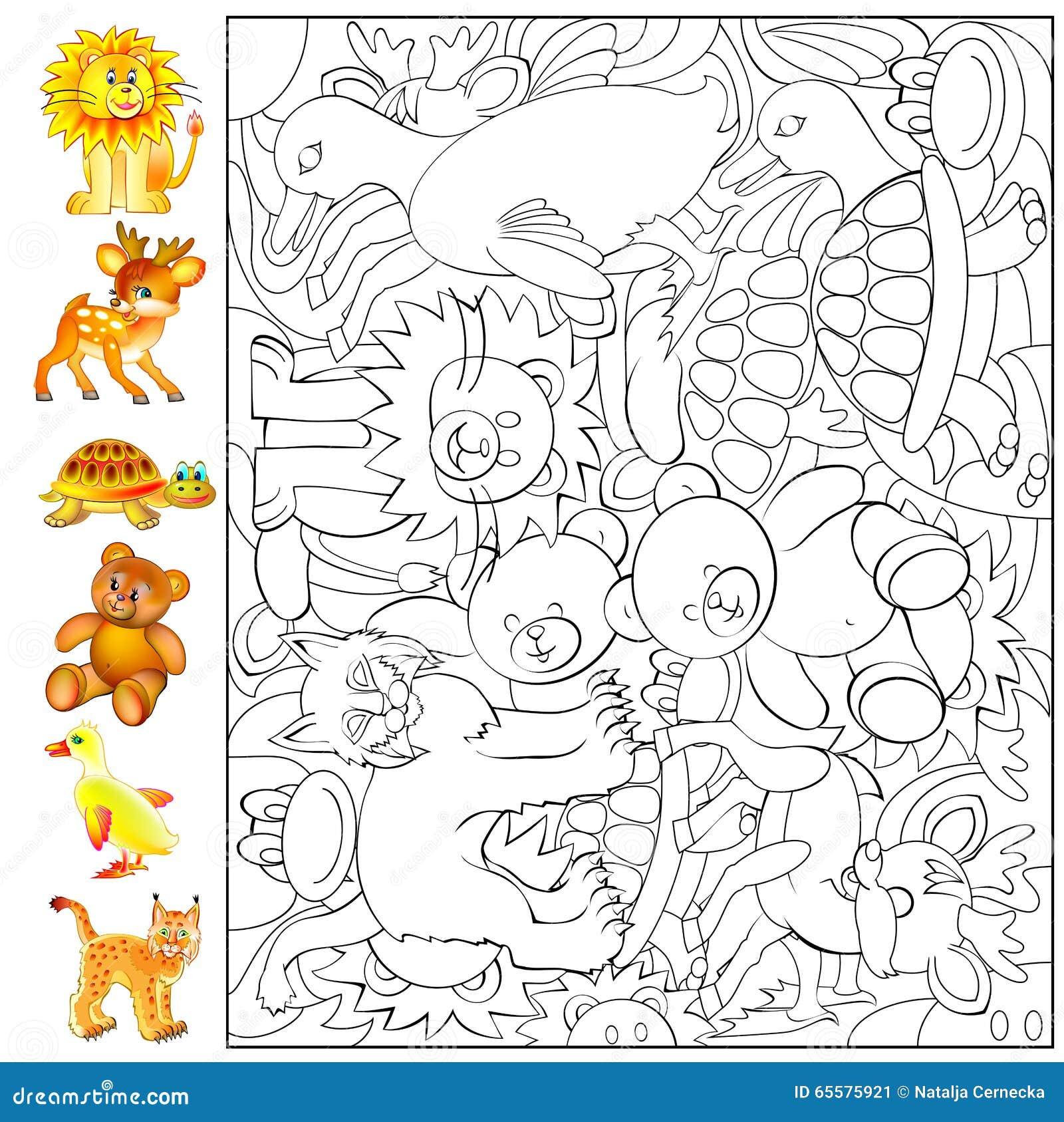 Exercícios para jovens crianças - necessidades de encontrar e pintar os animais
