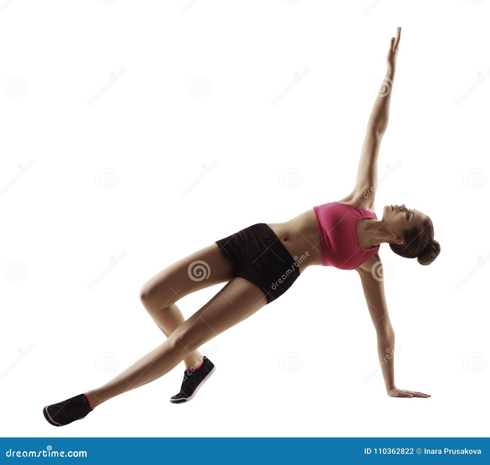 Exercice de planche de forme physique de femme de sport, séance d entraînement d aérobic sur le blanc