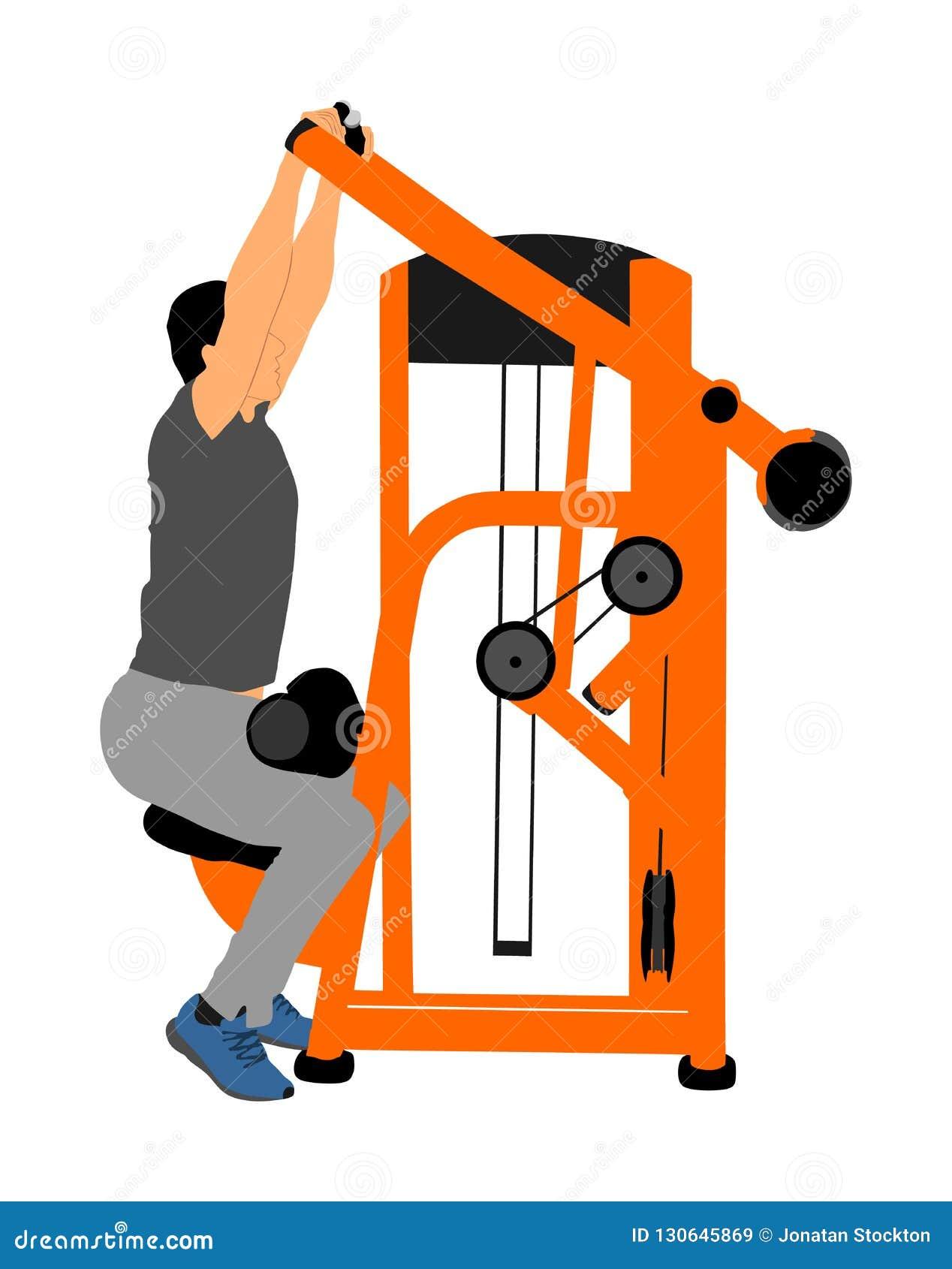 Exercices d homme de sport dans le gymnase sur la machine de forme physique d isolement sur le fond blanc Équipement fonctionnel