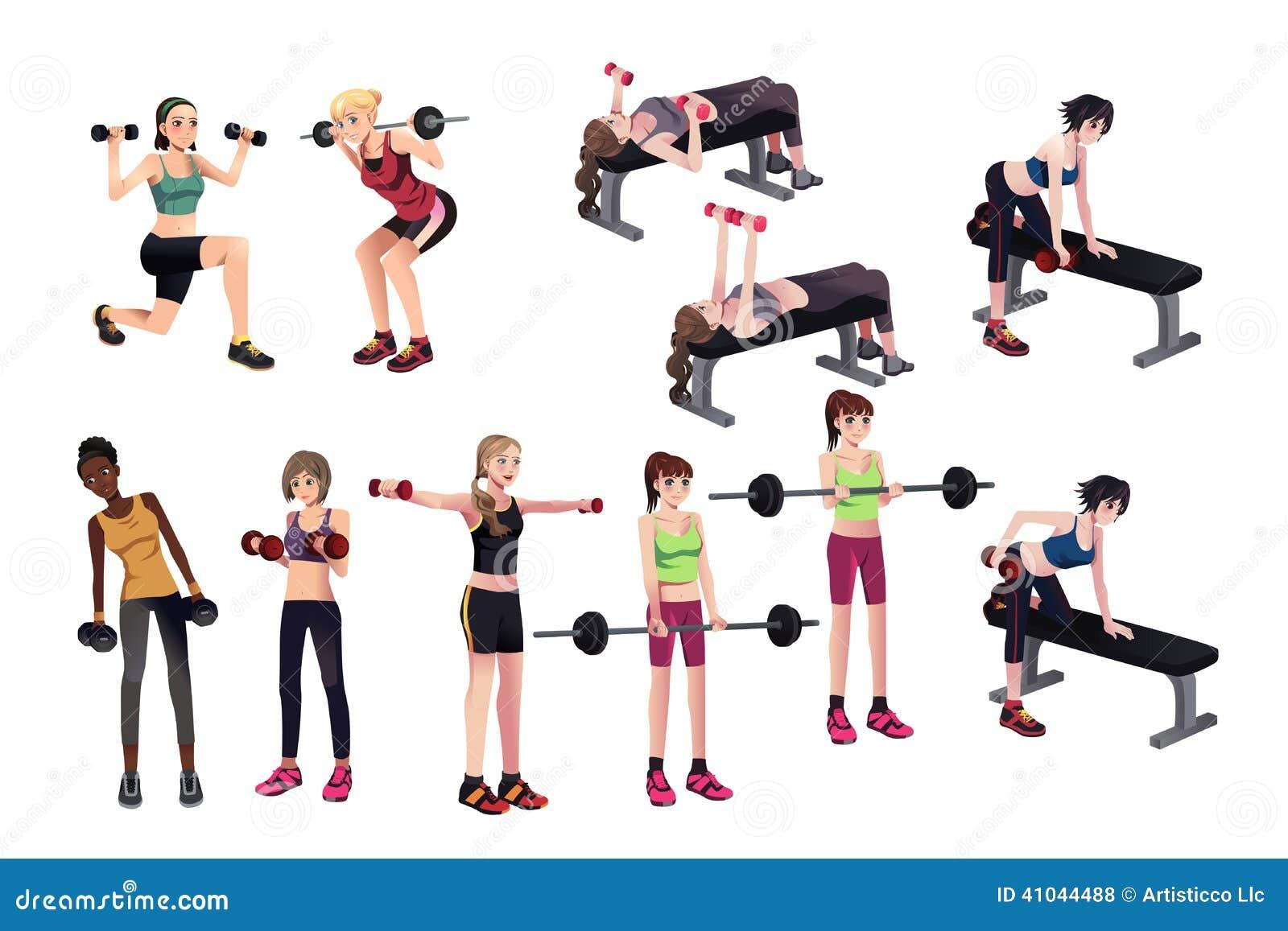 Exercices De Femmes Avec Des Poids Illustration de Vecteur ...