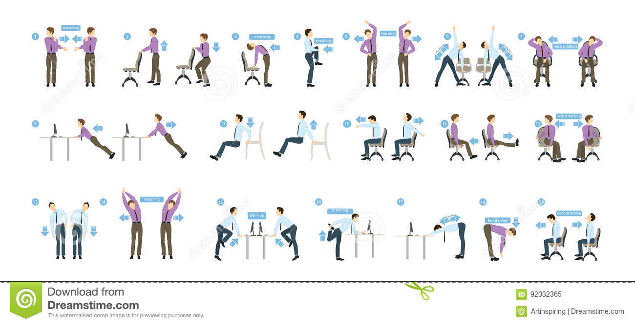 Exercices De Sport Pour Le Bureau Illustration De Vecteur