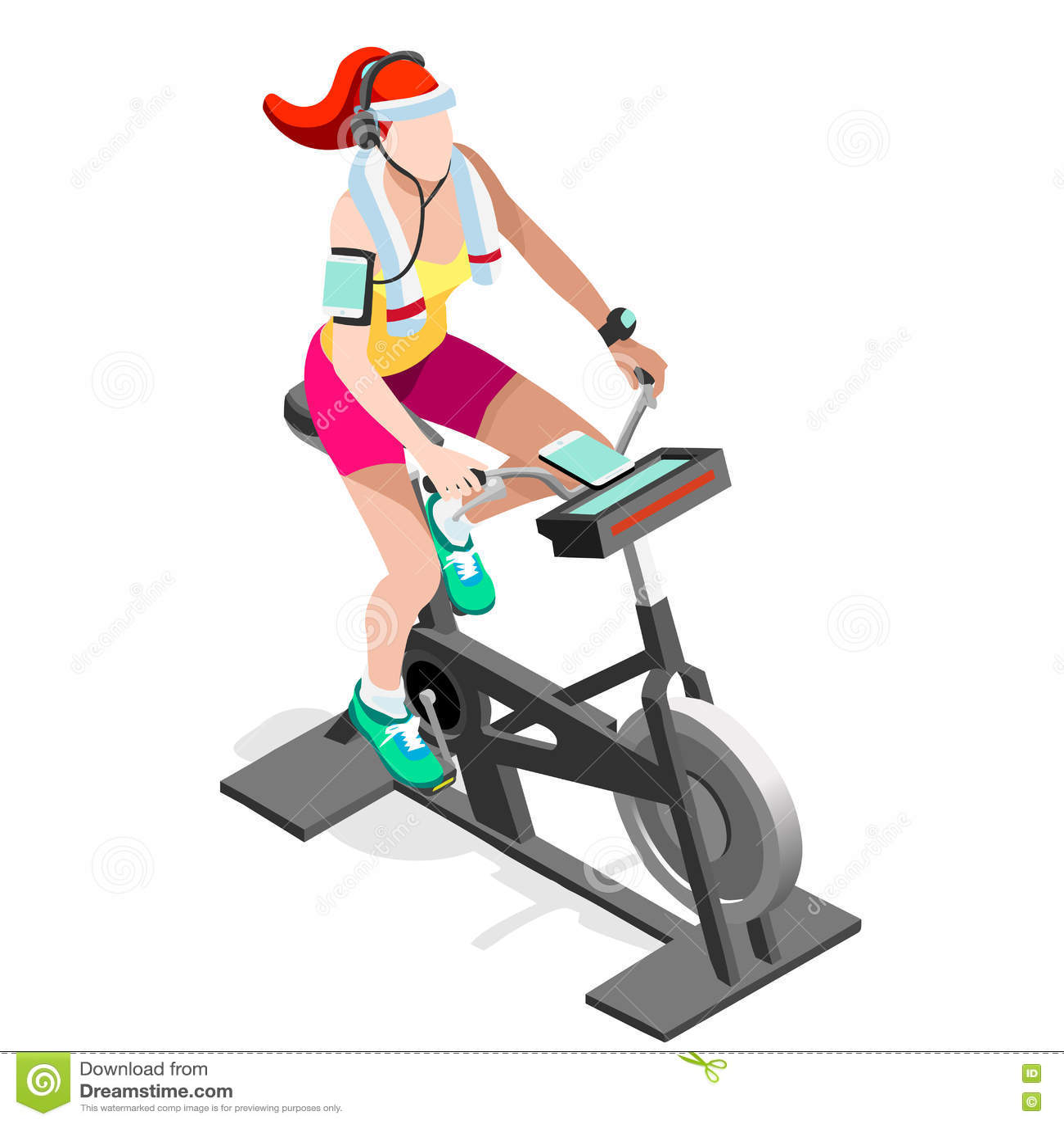 Isometric Exercise Equipment 1962: Exercise Bike Spinning Fitness Class.3D Flat Isometric