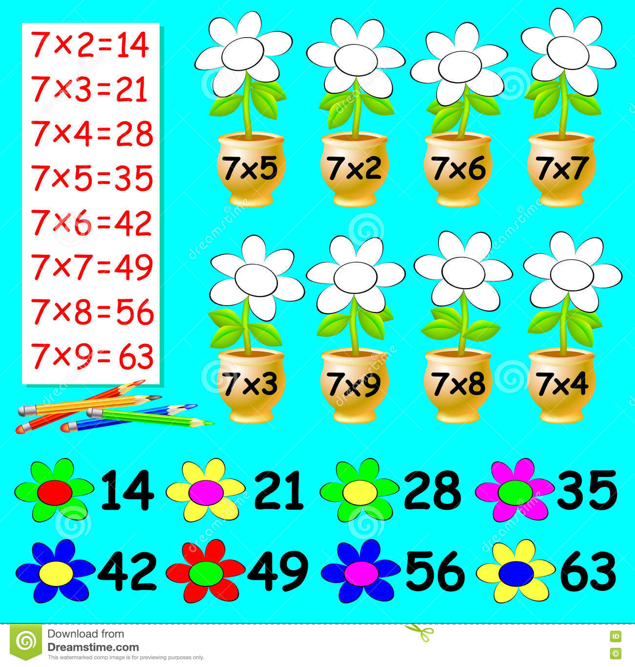 Exercise For Children With Multiplication By Seven - Need To Paint ...
