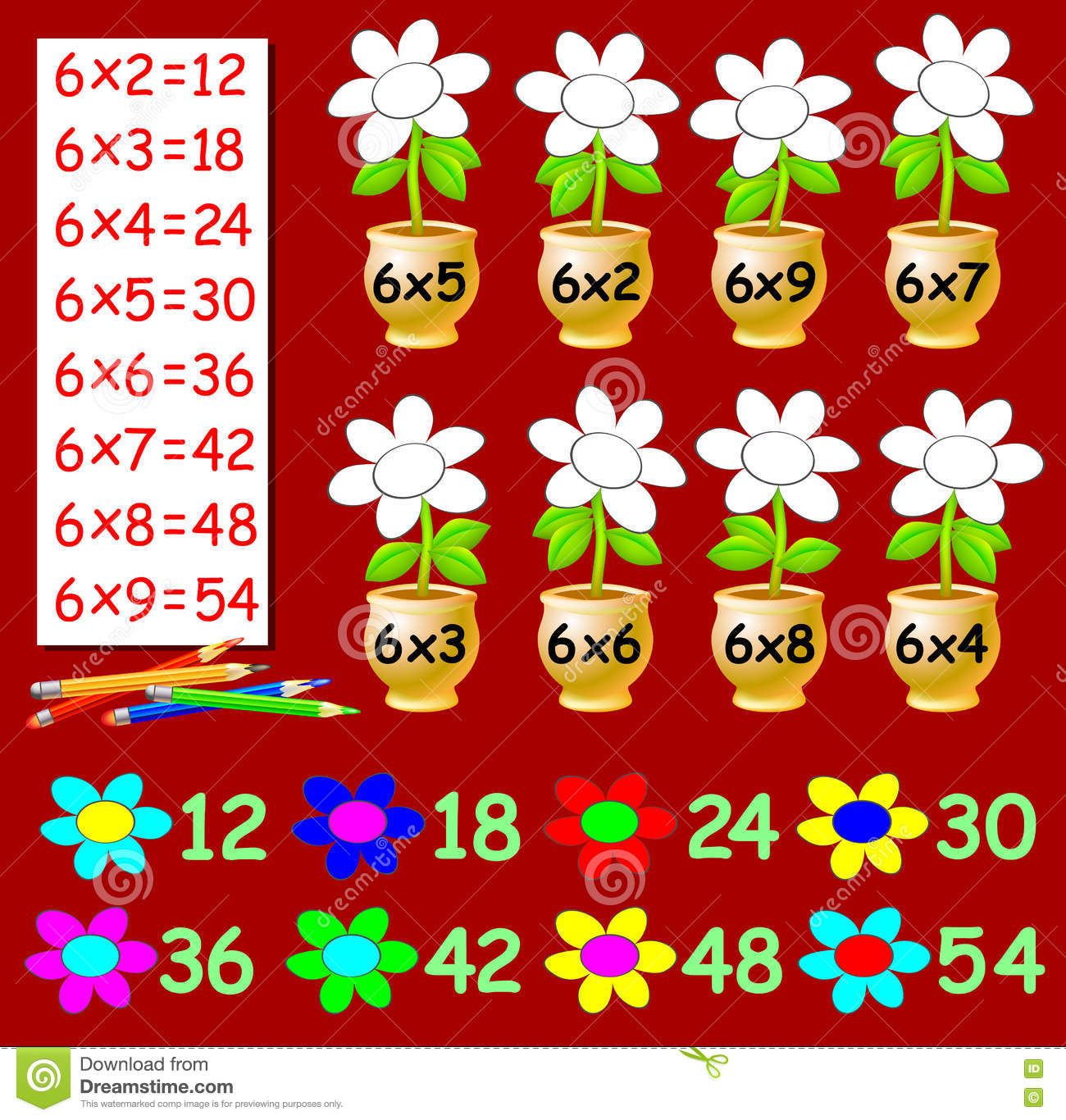 Exercise For Children With Multiplication By Six - Need To Paint The ...