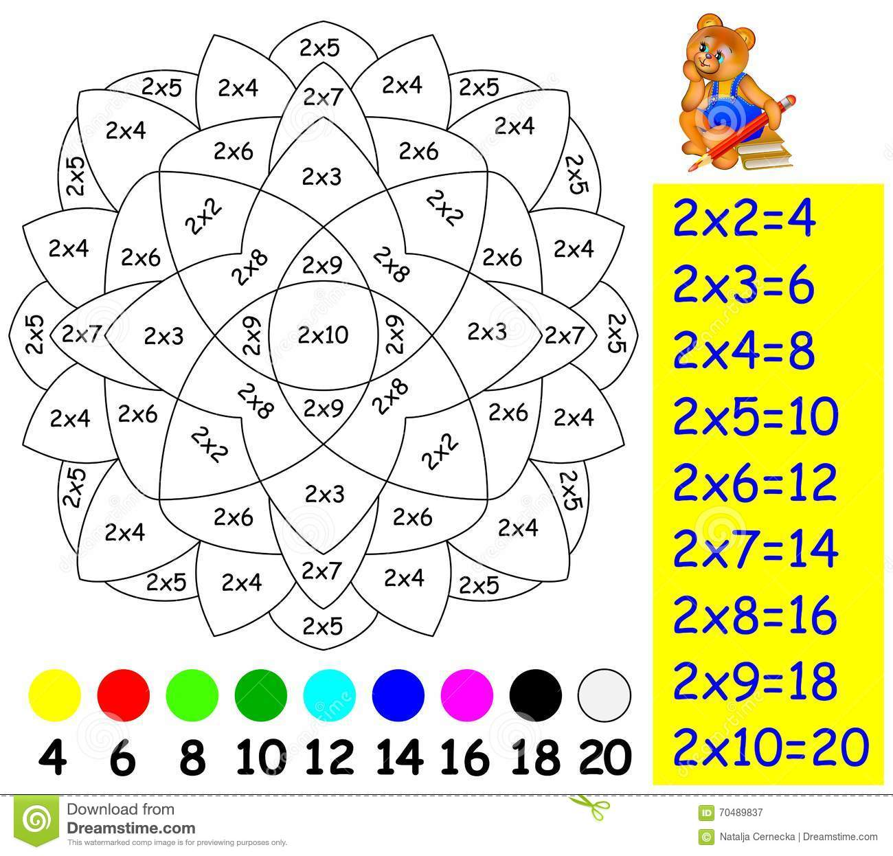 Exercise for children with multiplication by two need to - La table de multiplication de 3 ...