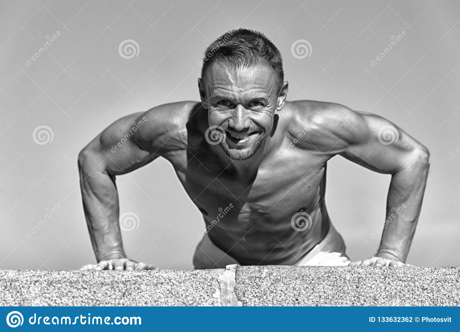 Daily Exercise Concept  Push Ups Challenge  Man Motivated