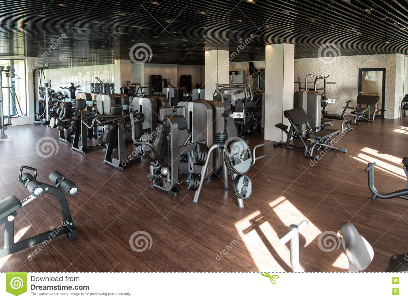 Exercise machines in a modern gym stock image image of fitness