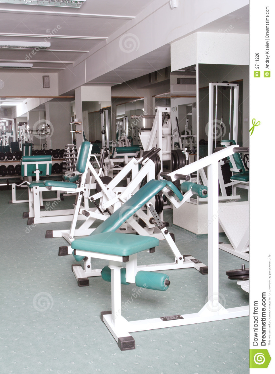 Exercise room and equipment royalty free stock photos