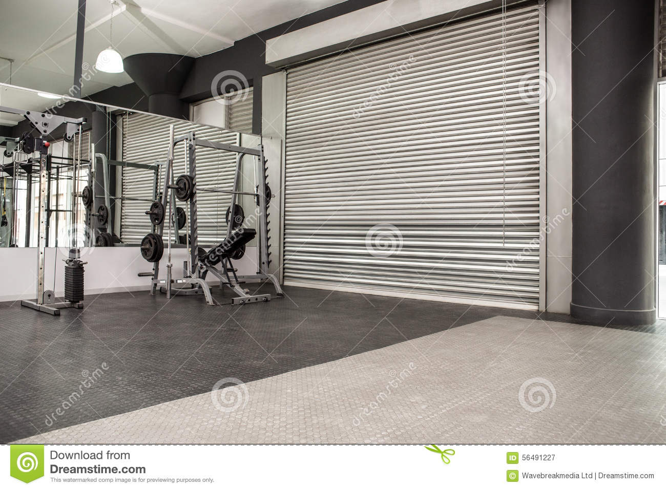 Exercise room with shutters and mirrors stock image image of
