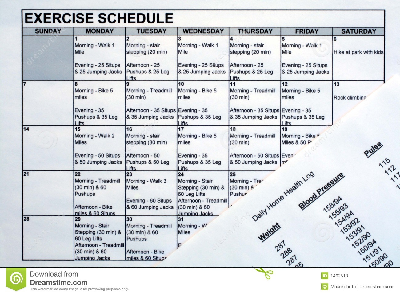 exercise schedule health chart stock photo image of health